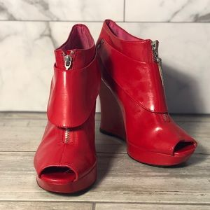 Red Shiny open toe booties